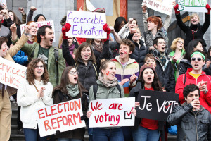 McGill students film their vote mob video for the 2011 federal election on campus. Apr 14 2011