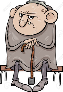 Cartoon Illustration of Grumpy Old Man Senior